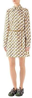 Gucci Women's Stirrup Rain Printed Silk Twill Shirtdress