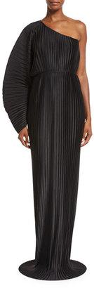 Torrance One-Shoulder Pleated Chiffon Maxi Dress, Black