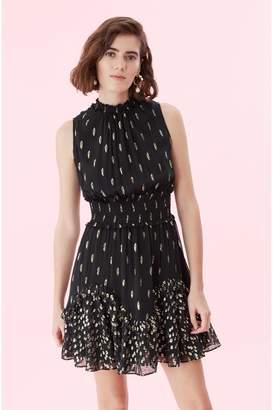 Rebecca Taylor Mixed Metallic Clip Smocked Dress
