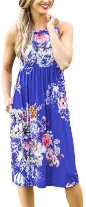Liran Women's Round Neck Sleeveless Floral Print Sundress Beach Casual Boho Dress US