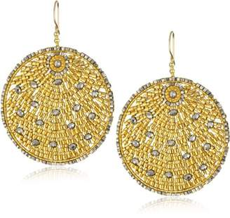 Miguel Ases Pyrite Quartz and Swarovski Beaded Round Earrings