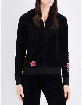 Juicy Couture Robertson floral-embroidered velour hoody $215 thestylecure.com