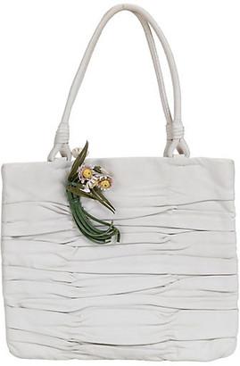 One Kings Lane Vintage Prada White Lambskin Handbag Lux