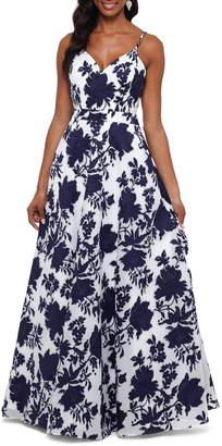 Xscape Evenings Beaded Floral Burnout Organza Evening Dress