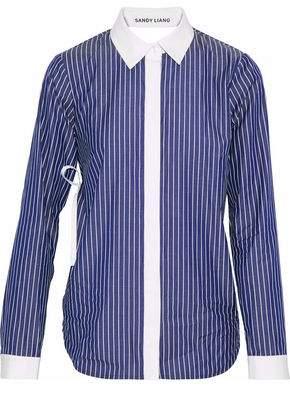 Sandy Liang Enzo Open-Back Ruffled Striped Cotton Shirt