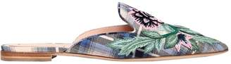 Alberta Ferretti 10mm Mia Embroidered Plaid Cotton Mules