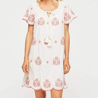 Aspiga Jade Embroidered Cotton Dress Ecru/Coral