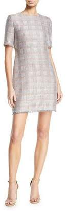 Emporio Armani Short-Sleeve Tweed Fringe-Trim Dress