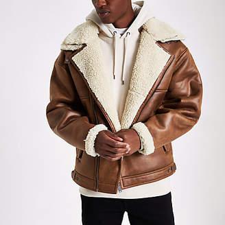 River Island Brown fleece biker jacket