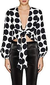 Lisa Perry Women's Dot-Print Crepe Wrap Top - White