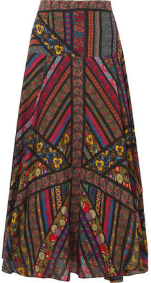 Etro Asymmetric Printed Silk-georgette Midi Skirt - Black