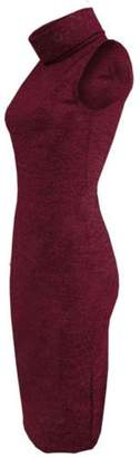 LIREROJE Women Turtleneck Sleeveless Maxi Knit Sweater Bodycon Pencil Party Dress S