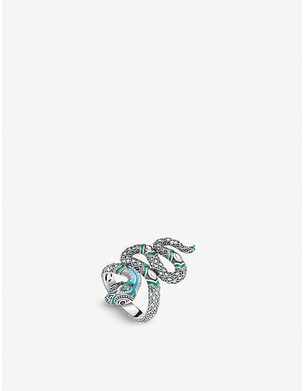 Tropical snake sterling silver and coloured stone ring