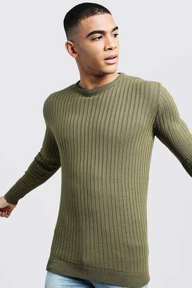 boohoo Long Sleeved Muscle Fit Ribbed Crew Neck Jumper