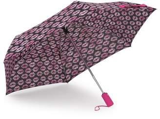 Betsey Johnson Smooches Patterned Auto Open & Close Umbrella