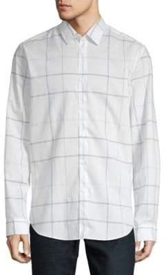 HUGO BOSS Lukas Windowpane Cotton Button-Down Shirt