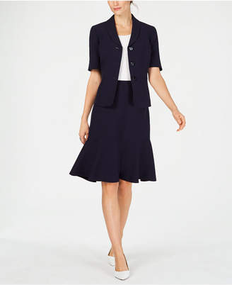 Le Suit Three-Button Short-Sleeve Skirt Suit