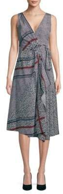 Derek Lam 10 Crosby Printed Pleated Wrap Silk Dress