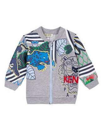 Kenzo Multi-Tiger Zip-Front Fleece Jacket, Size 12-18 Months