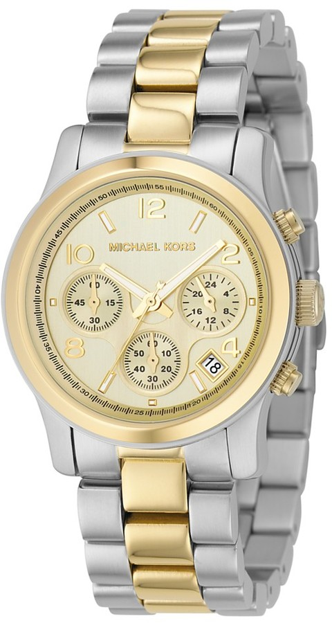 Michael Kors Watch, Women's Chronograph Two Tone Mixed Metal Bracelet 32mm MK5137