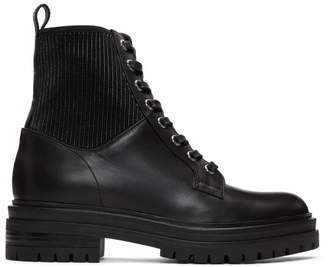 Gianvito Rossi Black Leather Combat Boots