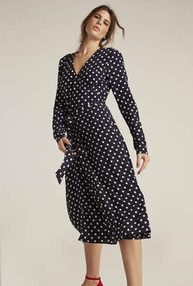 Long Tall Sally Long Sleeve Spot Print Woven Wrap Dress