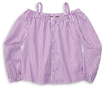 Ralph Lauren Childrenswear Girls 7-16 Girls Off-The-Shoulder Striped Cotton Top $45 thestylecure.com