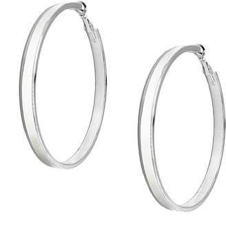 Tuleste White & Silver Enamel Channel Hoop Earrings