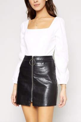 Sadie & Sage Vegan Zipper Miniskirt