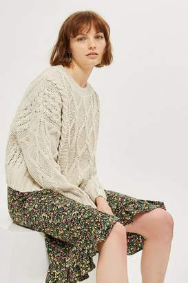 Topshop Tall Cropped Cable Knit Jumper