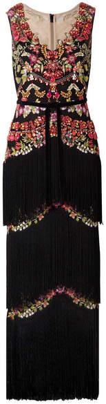Marchesa Notte - Embellished Fringed Tulle Gown - Black