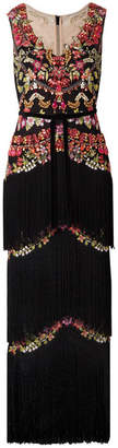 Marchesa Embellished Fringed Tulle Gown - Black