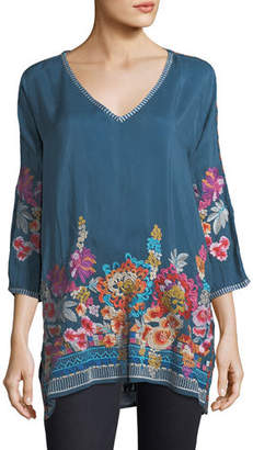 Johnny Was Plus Size Araxi Floral-Embroidered Tunic