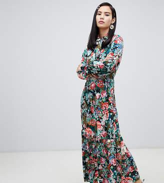 Monki floral print high neck maxi dress in blue