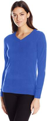 Sag Harbor Women's Long Sleeve Ideal V-Neck Pullover Cashmerlon Sweater