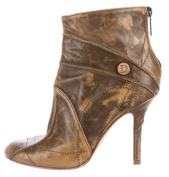 Christian Dior Leather Distressed Ankle Boots