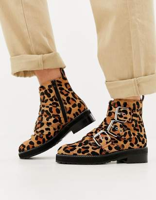 Office Artillery chunky leopard three buckle boots