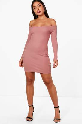 boohoo Lacey Rib Off Shoulder Bodycon Dress