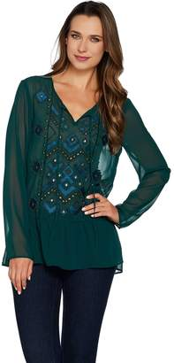 Logo By Lori Goldstein LOGO Lavish by Lori Goldstein Chiffon Top with Beading & Embroidery