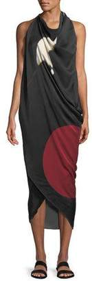 Urban Zen Abstract Brushstroke Print Silk Scarf Dress