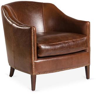 One Kings Lane Madison Leather Club Chair - Saddle