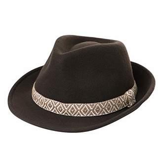 Jeff & Aimy Wool Felt Fedora Panama Hat Winter Men Women Packable Wide Brim Gangster Hipster Jazz Hats Brown