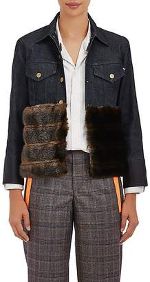 Harvey Faircloth Women's Faux-Fur-Trimmed Denim Jacket