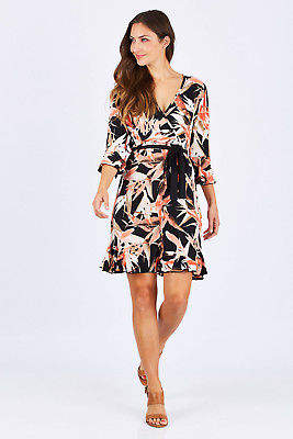 NEW Spicy Sugar Womens Short Dresses Printed Tie Dress With Waist Tie Mulit