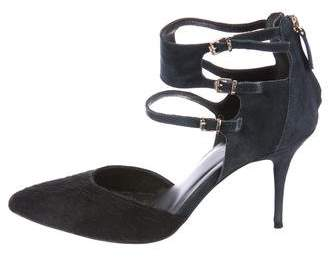 Reiss Ponyhair-Trimmed Ankle Strap Pumps