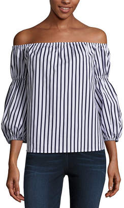 BELLE + SKY Balloon Sleeve Off The Shoulder Top