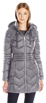 French Connection Women's Hooded Packable With Zig Zag