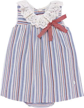 Eyelet-Collar Striped Dress w/ Matching Bloomers, Size 12M-3