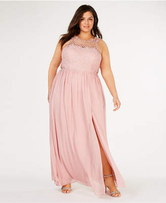 d28ef945822 City Studios Trendy Plus Size Embellished Illusion Tulip Gown