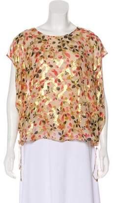 Diane von Furstenberg Floral Silk Short Sleeve Blouse